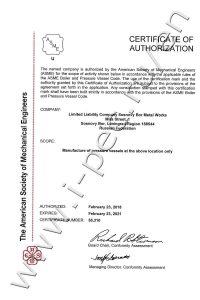 ASME certificate for the pressure vessels manufacture using U Designator