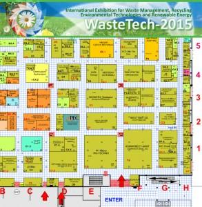 WasteTech-2015 cхема расположения стендов в зале